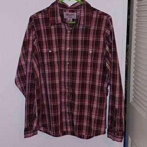 NWOT Wrangler brown pink button up shirt top